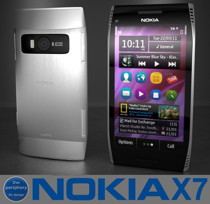 nokia x7 smartphone 3d c4d