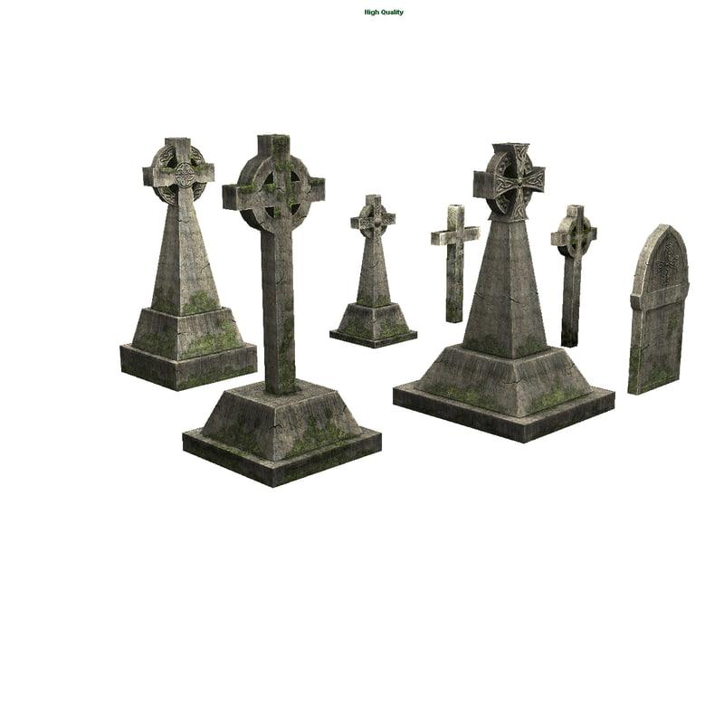3d cemetery tombstones model