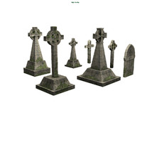 3d cemetery tombstones model