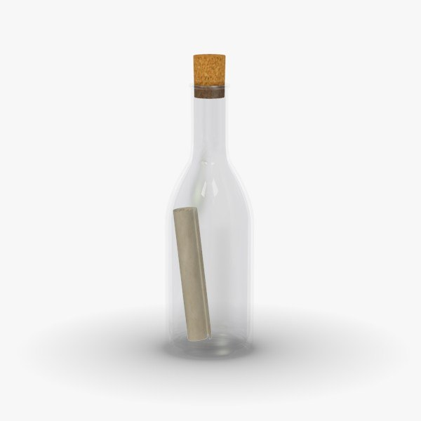 3d message bottle model