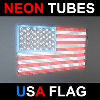 3d flag neon lights model