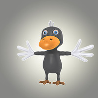 cool cartoon bird 3d model