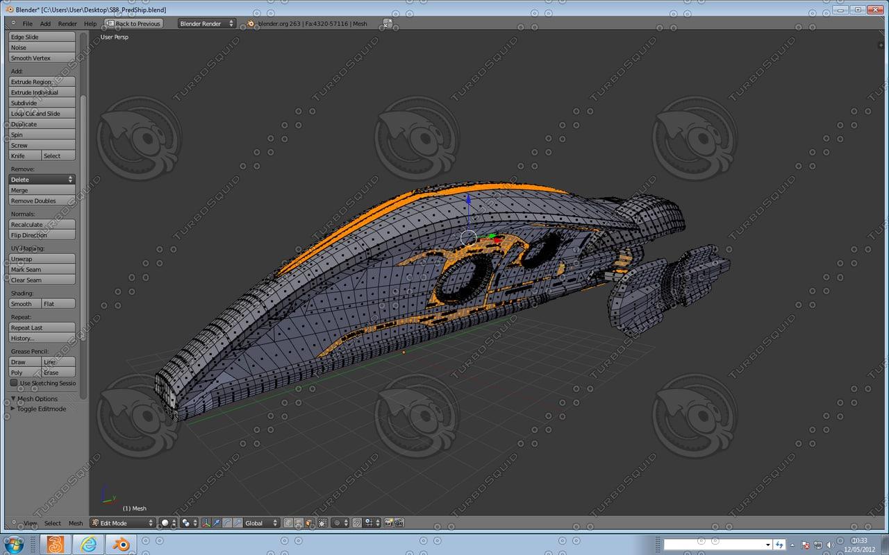 spacecraft ship avp 3d blend