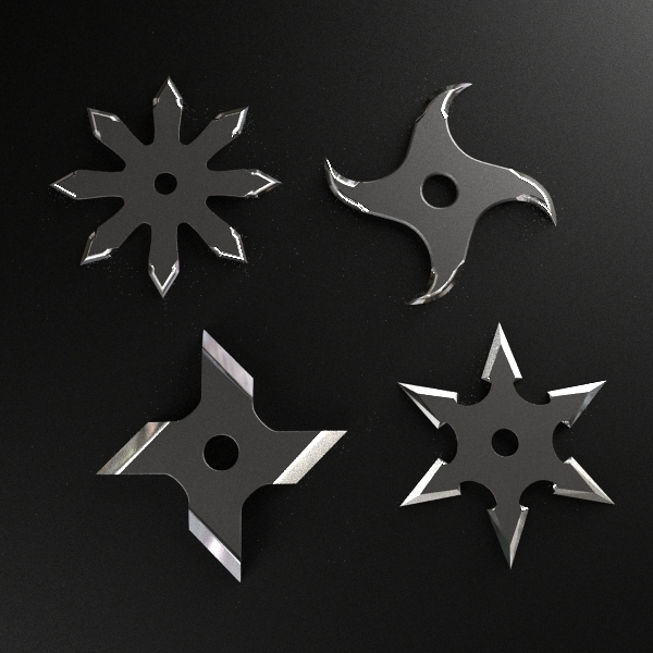 3d shuriken throwing star