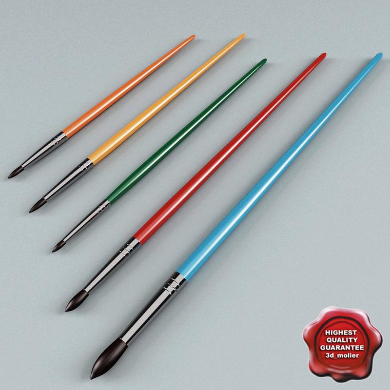 3d artist painting brushes model