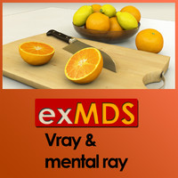 Fruit Bowl, Chopping Board & Knife (vray & mr)