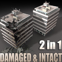 3d model destroyed building 2 intact