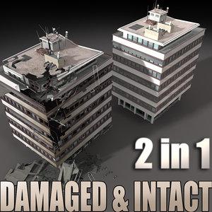 3d model destroyed building 2 intact