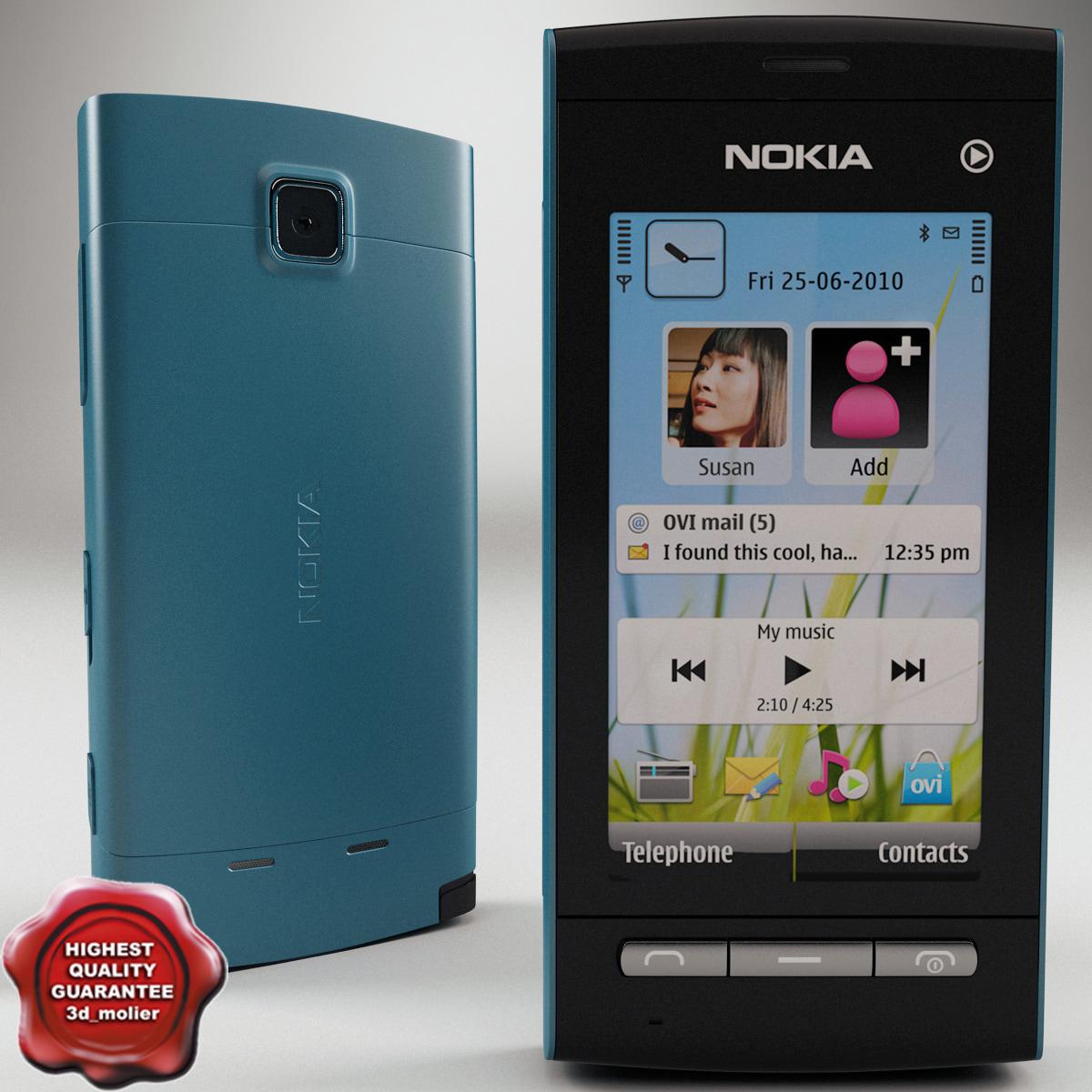 nokia 5250 blue 3d 3ds