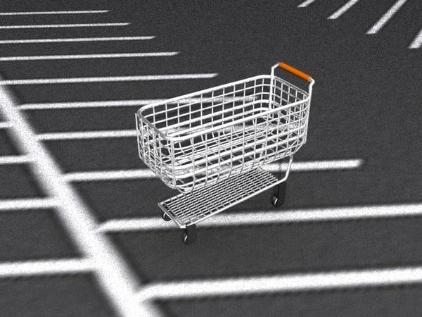 3d model 1950s shopping cart