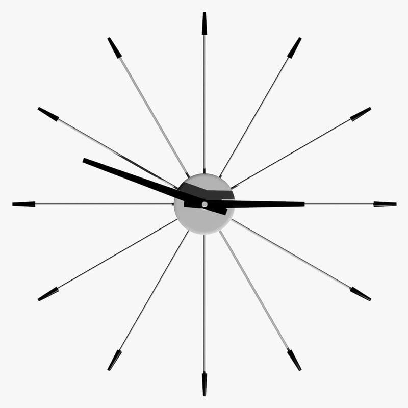 spike wall clock 3d model