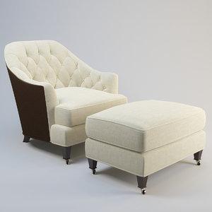 baker tufted club chair max