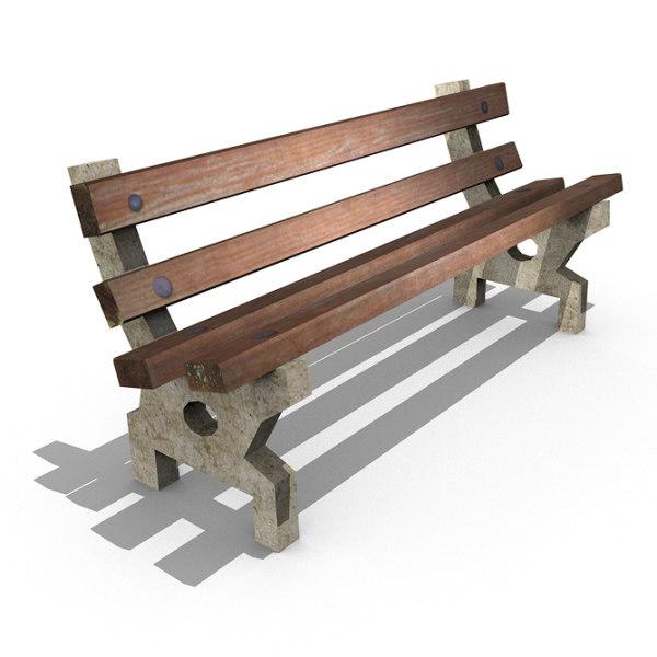 3d old park bench