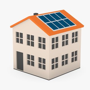 cartoon house solar panels c4d