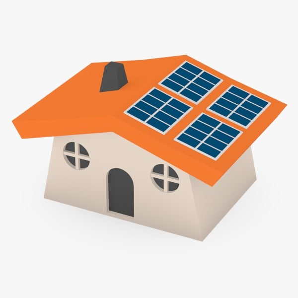 maya cartoon house solar panels