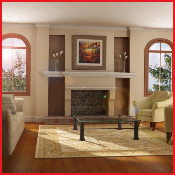 3d model def classic living room
