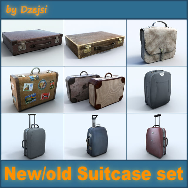 3d model briefcase suitcase old new