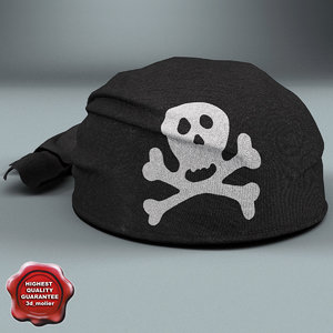 pirate scarf hat black 3d model