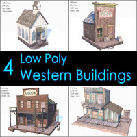 Western Buildings Collection, Low Poly, Textured