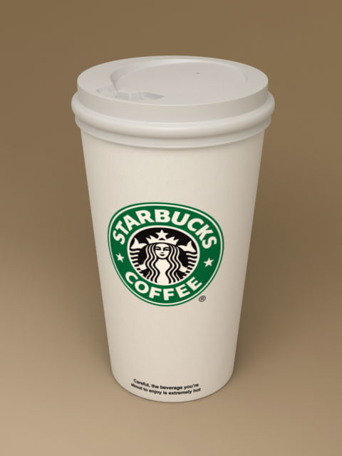 3d starbucks coffee paper cup model