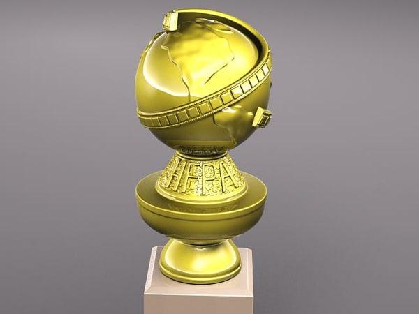 3d golden globe award statue