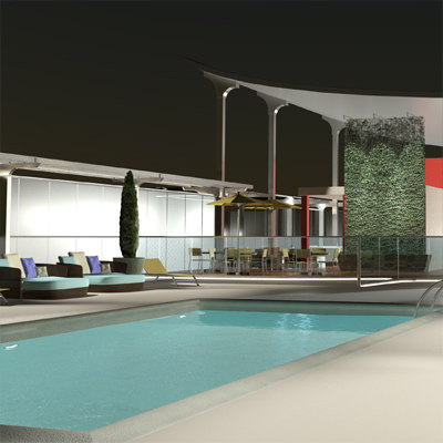 3d pool lights night