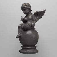 statue angel dove 3d model