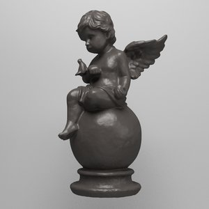 statue angel dove 3d model