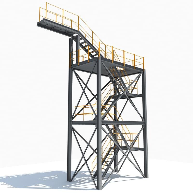 3d model industrial tower