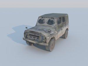 3d 3ds low-poly uaz vehicle military