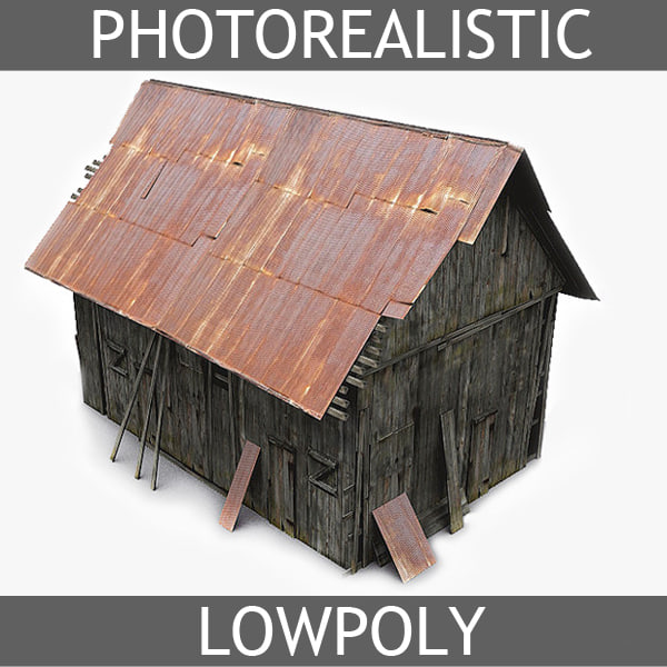 photorealistic old barn photo realistic 3d model