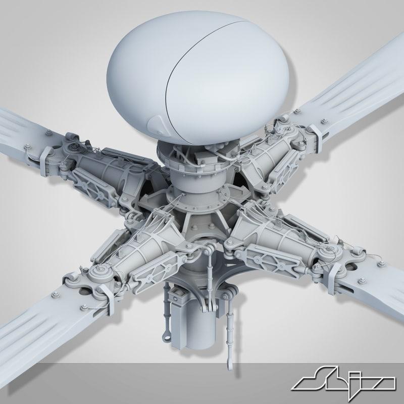 3d model apache helicopter propeller