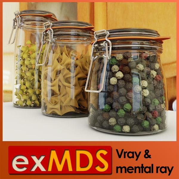 resealable jars 3d model