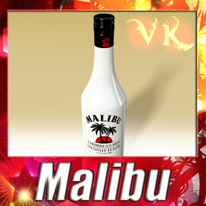 liquor bottle malibu 3d model