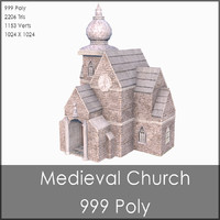 Medieval Church, Low Poly, Textured