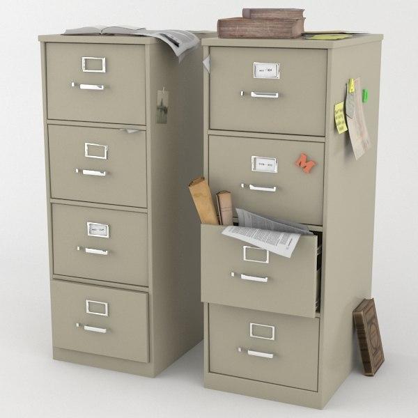 3d model cluttered filing cabinet