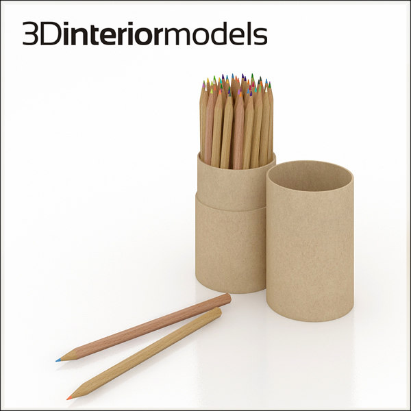 pencil tubs coloured 3ds
