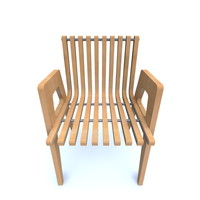 curved wooden chair 70 s 3d 3ds