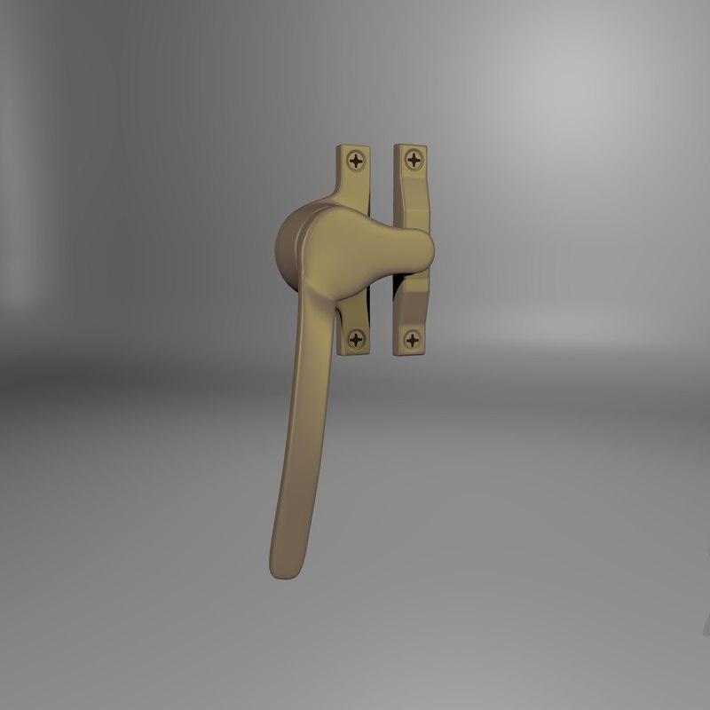 3d brass window clasp model