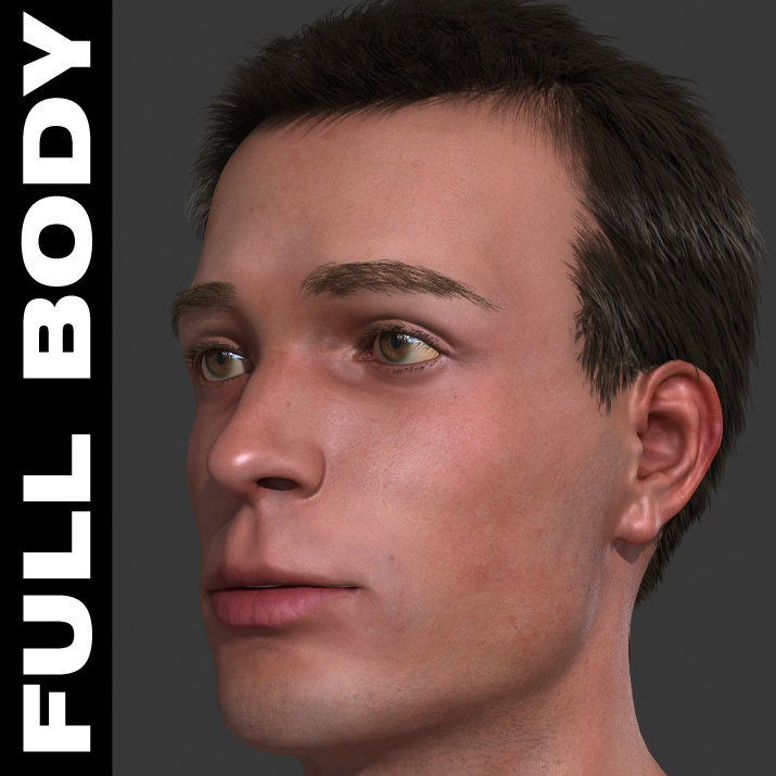 3d model realistic male body -