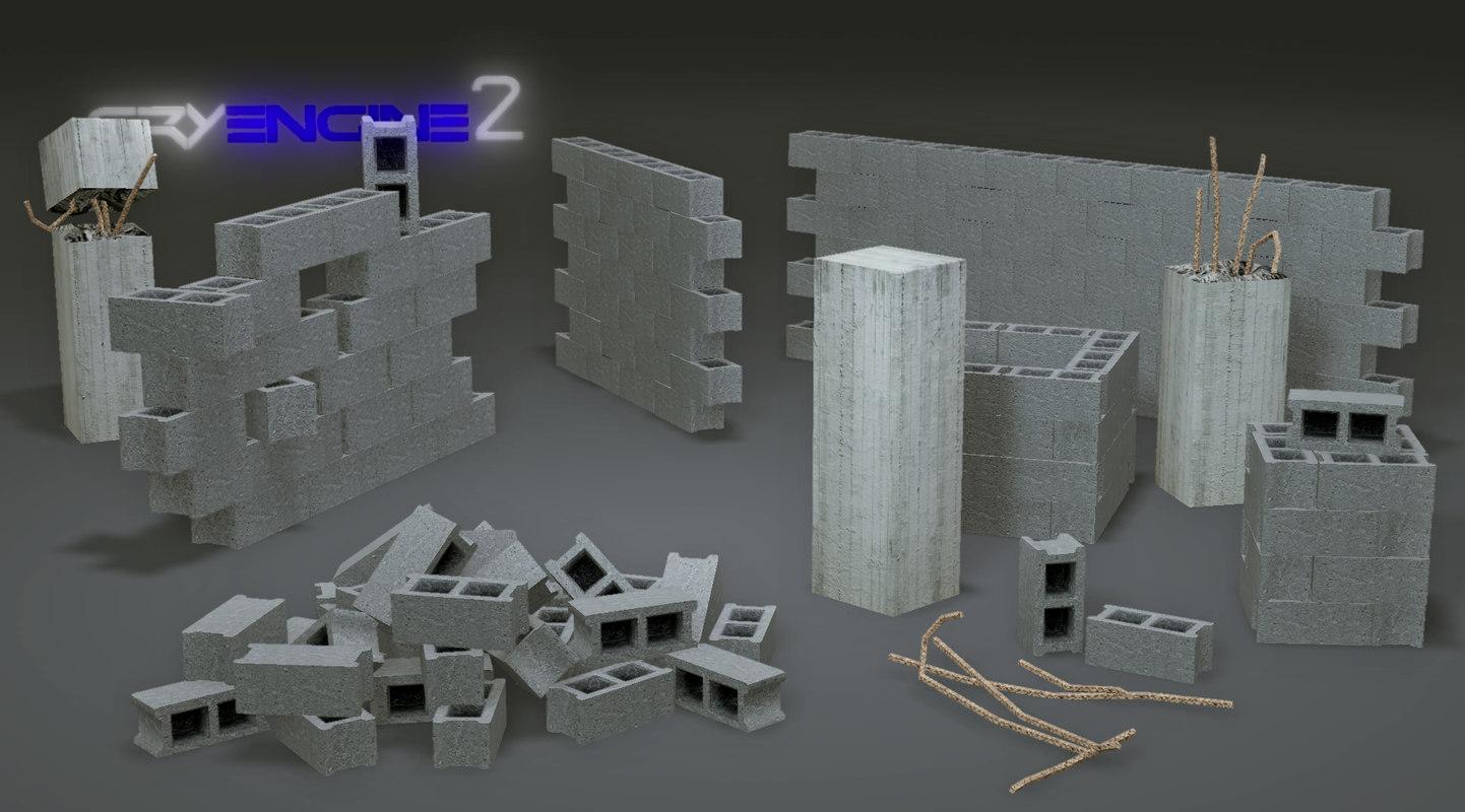 Free pack concrete block walls 3d model - Concrete fence models design ...