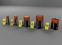 duracell batteries 3d model