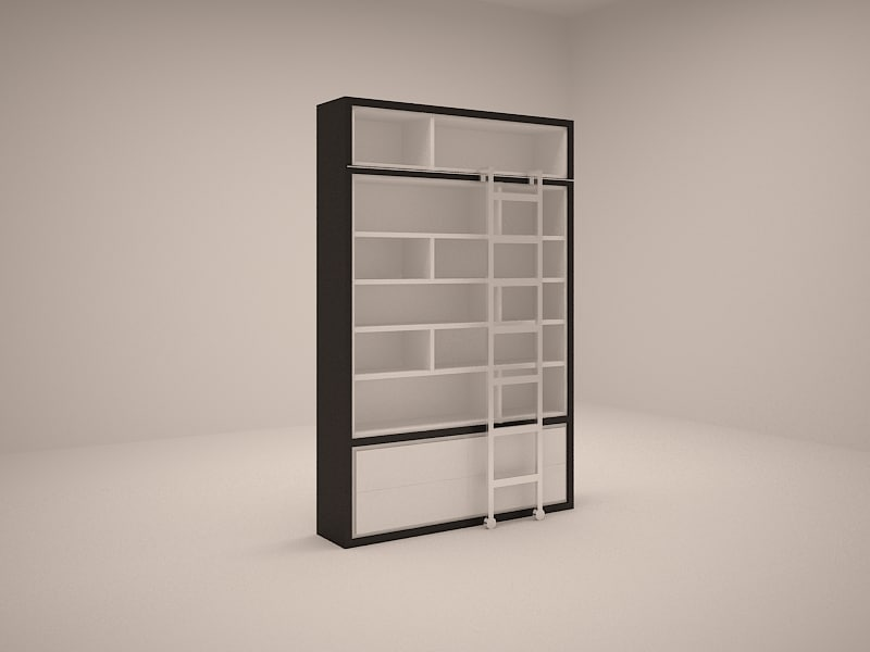 3ds max shelf ladder bookshelf