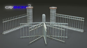 free pack metal fences games 3d model
