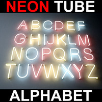 3d letters alphabet neon lights