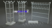free pack prison fences modular 3d model