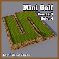 Low Poly Mini Golf Hole C3H14