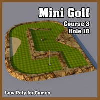 Low Poly Mini Golf Hole C3H18