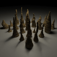 3d 25 stalagmite props cave