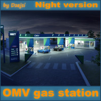 3d omv gas station night